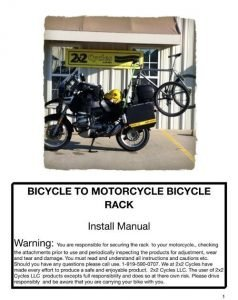 2x2 Cycles Bike Rack Installation Manual Cover 2012